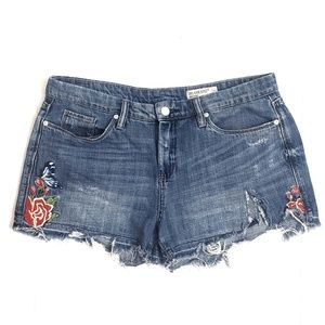 Blank NYC Embroidered Distressed Hiker Jean Shorts